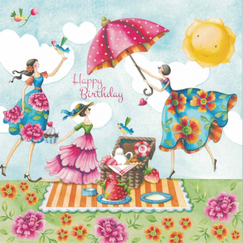 """Nina Chen"": Frauen Picknick Happy Birthday Postkarte Größe: 14x14cm"