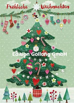 Weihnachtsbaum Weihnachten.Edition Gollong Mila Marquis Fröhliche Weihnachten Weihnachtsbaum Geschmückt Größe 10 5x15 Cm