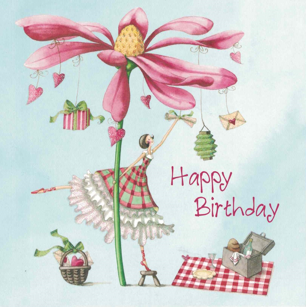 Happy Birthday Karte Für Frauen.Nina Chen Frau Mit Blume Und Picknickkorb Happy Birthday Postkarte Größe 14x14cm