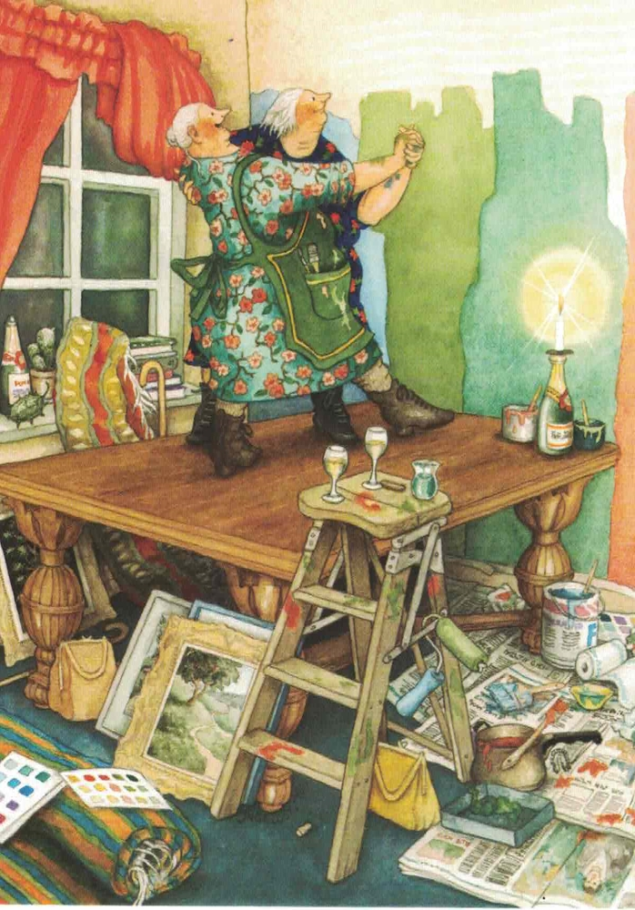 Inge Löök 40 Kunstkarte Frauen vor dem Kamin Nr